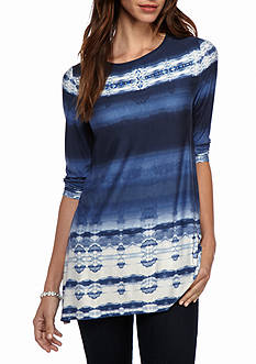 Ruby Rd Petite Rhythm and Blue Tie Die Knit Top