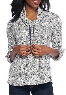 Ruby Rd Petite Size Starburst Jacquard Pullover