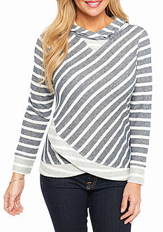 Ruby Rd Petite Striped Hoodie Pullover