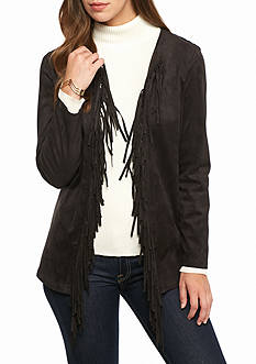 Ruby Rd Faux Suede Fringe Jacket