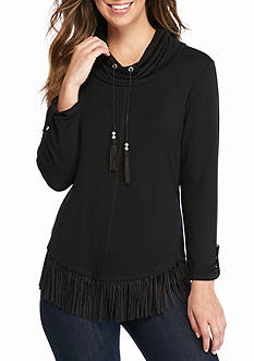 Ruby Rd Well Traveled Cowl Neck Fringe Top
