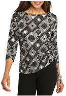Ruby Rd Well Traveled Embellished Ruched Knit Top