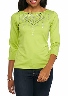 Ruby Rd Well Traveled Embellished Solid Knit Top