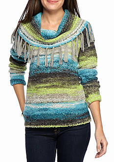 Ruby Rd Well Traveled Cowl Neck Boucle Pullover Sweater