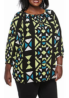 Ruby Rd Plus Size Modern Knits Aztec Peasant Woven Top