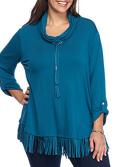 Ruby Rd Plus Size Faux Suede Fringe Top