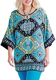 Ruby Rd Well Placed Print Knit Top