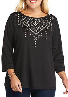 Ruby Rd Plus Size Modern Knits Embellished Boat Knit Top