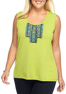 Ruby Rd Plus Size Modern Knits Embellished Shell