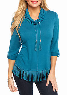 Ruby Rd Petite Well Traveled Suede Cowl Neck Knit Top
