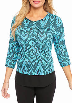 Ruby Rd Petite Well Traveled Aztec Knit Top