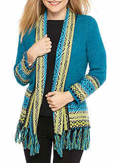 Ruby Rd Petite Open Front Aztec Peasant Cardigan