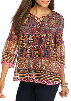 Ruby Rd Nouveau Boho Mixed Patter Bell Sleeve Woven