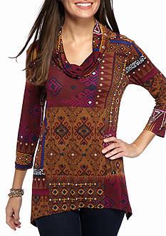 Ruby Rd Nouveau Boho Patchwork Heather Print Knit