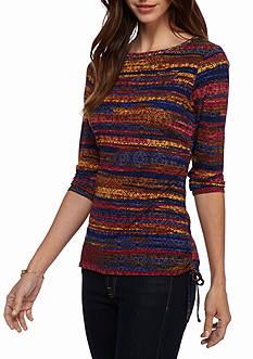 Ruby Rd Gypsy Caravan Bohemian Medallion Print Knit Top