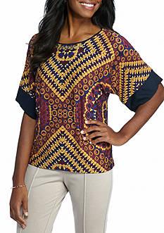 Ruby Rd Nouveau Boho Embellished Scoop Neck Print Knit Top