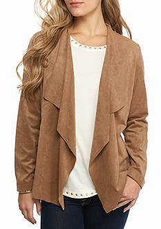 Ruby Rd Neutral Territory Cascade Collar Suede Jacket