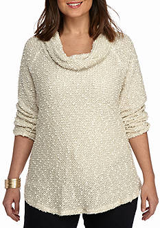 Ruby Rd Plus Size Cowl Neck Hacci Knit Top