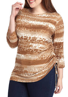 Ruby Rd Plus Size Neutral Territory Leopard Stripe Side Ruch Knit Top