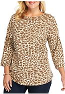 Ruby Rd Plus Size Neutral Territory Leopard