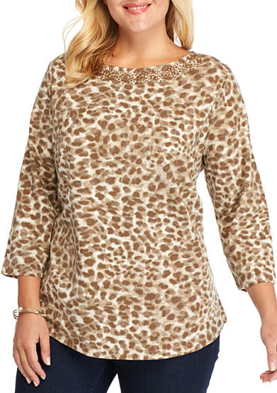 Ruby Rd Plus Size Neutral Territory Leopard Embordiered Boat Neck Knit Top