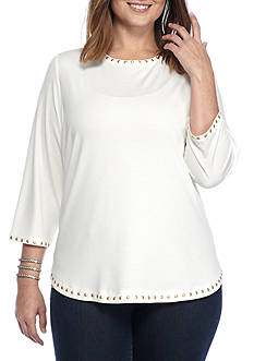 Ruby Rd Plus Size Embellishment Top