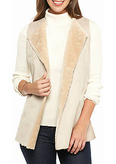 Ruby Rd Petite Neutral Territory Faux Suede Vest