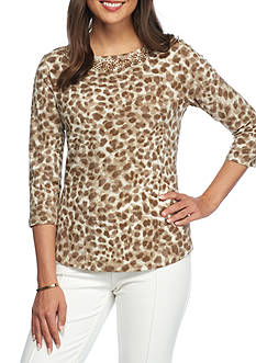 Ruby Rd Neutral Territory Petite Leopard Boat Neck Top