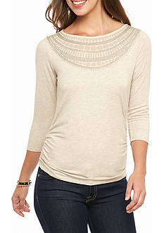 Ruby Rd Terry Embellished Solid Knit Top with Ruch