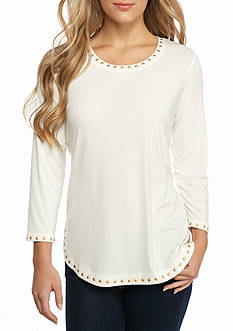 Ruby Rd Neutral Territory Embellished Solid Knit