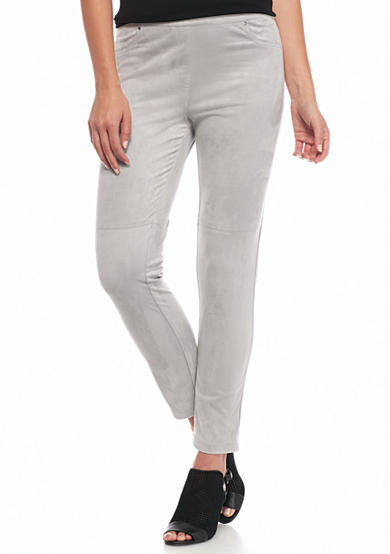 Ruby Rd Amazing Gray Pull On Faux Suede Leggings