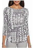 Ruby Rd Grey Embellished Patchwork Knit
