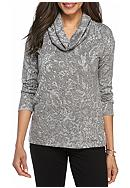 Ruby Rd Amazing Gray Cowl Neck Printed Top