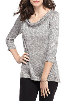 Ruby Rd Embellished Drapeneck Sharkbite Sweater