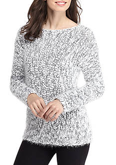 Ruby Rd Grey Long Sleeve Boat Neck Pom Pom Eyelash