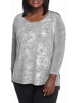 Ruby Rd Plus Size Amazing Gray Foil Knit Top