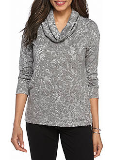 Ruby Rd Plus Amazing Gray Cowl Neck Printed Top