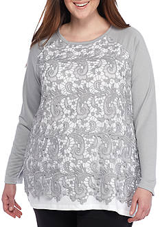 Ruby Rd Plus-Size Lace Front Knit Top