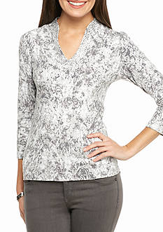 Ruby Rd Gray Embellished Scroll Print Top
