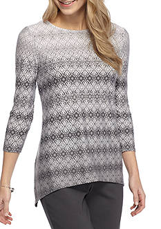 Ruby Rd Petite Size Amazing Grey Embellished Ombre Sharkbite Top
