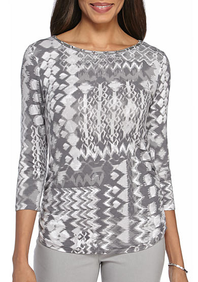 Ruby Rd Gray Embellished Patchwork Top