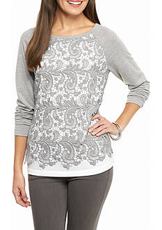 Ruby Rd Amazing Grey Lace Front Pullover