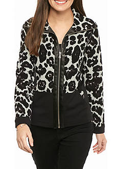 Ruby Rd Mix It Up Leopard Jacket with Hood