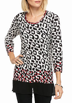 Ruby Rd Mix It Up Print with Sharkbite Hem Knit Top