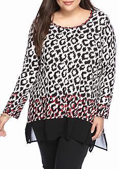 Ruby Rd Plus mix it up Print Sharkbite Hem Knit Top