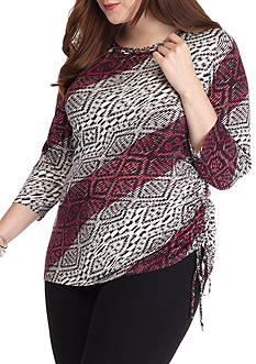 Ruby Rd Plus Size Diagonal Ikat Side Ruched Knit Top