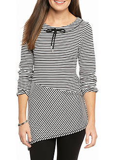 Ruby Rd Petite Mix It Up Waffle Stripe Tunic