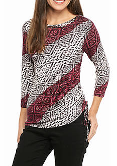 Ruby Rd Mix It Up Embellished Diagonal Ikat Top