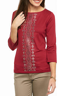 Ruby Rd Petitie Mix It Up Embellished Solid Knit Top