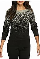 Ruby Rd Cozy Up Embellished Snake Sweater